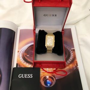 Guess Gold Tone Case, Mother of Pearl Face Watch